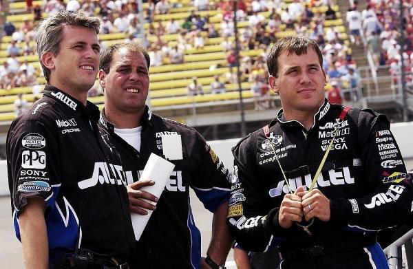 Race winner Ryan Newman (USA) Penske Racing ALLTEL Dodge (Right) chats with Crew Chief Matt Borland (USA) (Left).NASCAR Nextel Cup Series, Rd 15, DHL 400, Michigan International Speedway, Brooklyn, Michigan, USA, 20 June 2004.DIGITAL IMAGE