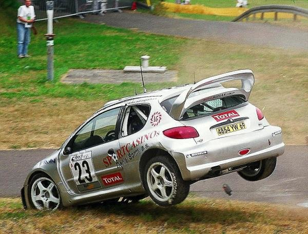 Roman Kresta (CZE), Peugeot 206 WRC, gets it wrong and rolls during Rallye Deutschland shakedown,World Rally Championship, Rd8, Rallye Deutschland, Germany. 23 July 2003.DIGITAL IMAGE