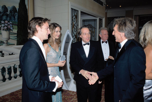 2003 Autosport AwardsGrosvenor Hotel, London, EnglandJenson Button with girlfriend Louise Griffiths talk to Lord March and Derek Bell. Portrait.World Copyright: Gold/LATref: 35mm Transparency (30mb scan)