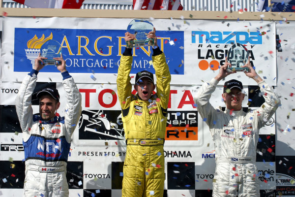 2003 Laguna Seca Toyota Atlantic, 15, June, 2003, Monterey, California, USA.Jonathan Macri, AJ Allmendinger, and Ryan Dalziel celebrate.-2003, Michael L. Levitt, USALAT Photographic