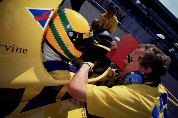 Silverstone, England. 19thy May 1990. Rd 2. Eddie Irvine (Eddie Jordan Racing), portrait. World Copyright: LAT Photographic. Ref: Colour Transparency.