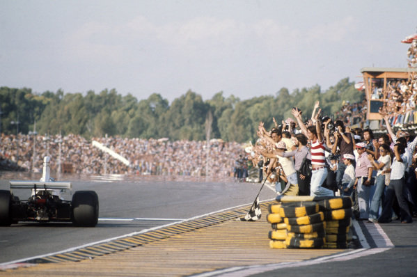 Carlos Reutemann, Brabham BT44B Ford crosses the line for third place to the delight of his home crowd.