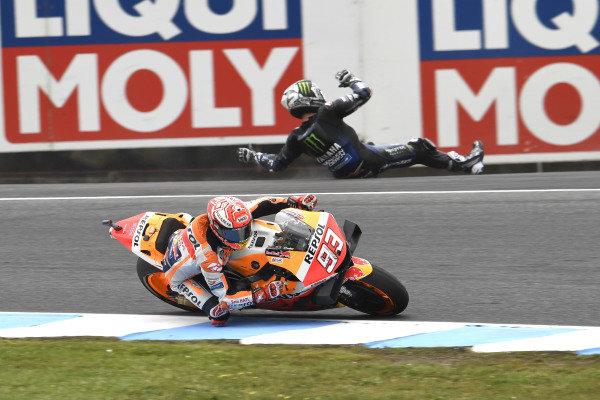 Marc Marquez, Repsol Honda Team, Maverick Vinales, Yamaha Factory Racing crashing in the background