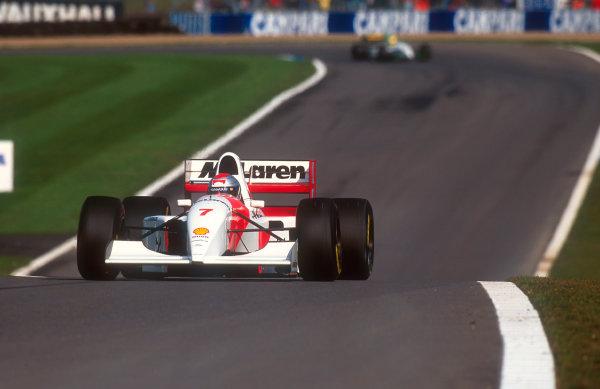 1993 European Grand Prix. Donington Park, England. 9-11 April 1993. Michael Andretti (McLaren MP4/8 Ford) at Coppice. Ref-93 EUR 43. World Copyright - LAT Photographic