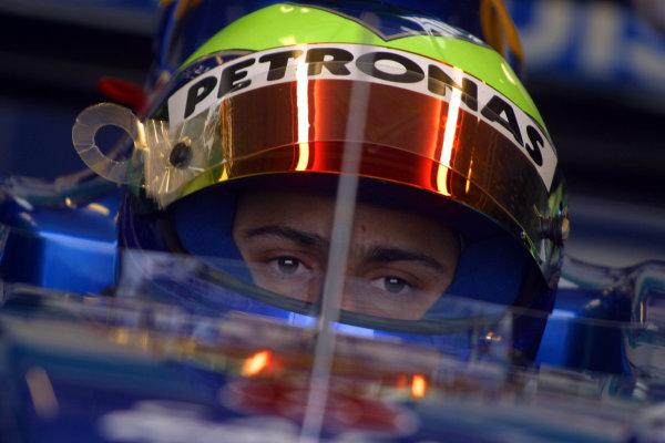 2002 Formula One TestingSilverstone, England. 17th September 2002.Felipe Massa, Sauber Petronas C21, portrait.World Copyright: Malcolm Griffiths/LAT Photographicref: Digital Image Only