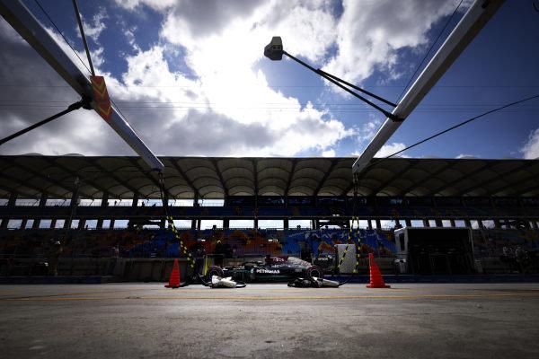 Sir Lewis Hamilton, Mercedes W12, in the pit lane