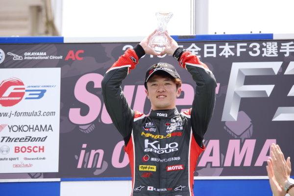Round 7 podium. Winner Ritomo Miyata , Corolla Chukyo Kuo TOM'S Dallara F317 Toyota. Photo by Masahide Kamio