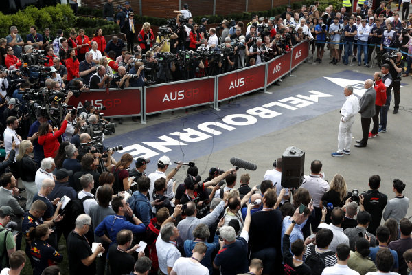 The world's media assemble for a press conference discussing the cancellation of the Australian Grand Prix