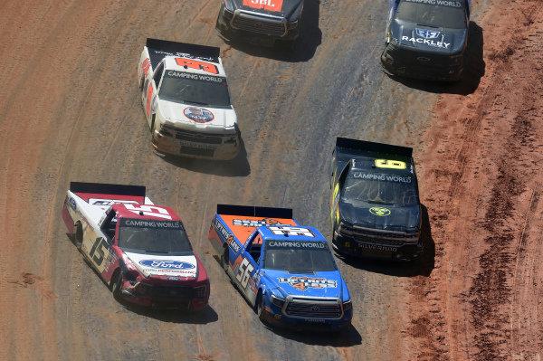 #15: Tanner Gray, Team DGR, Ford F-150 Ford Performance, #56: Mike Marlar, Hill Motorsports, Chevrolet Silverado LIftKits4Less.com