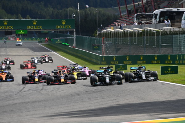 Lewis Hamilton, Mercedes F1 W11 EQ Performance, leads Valtteri Bottas, Mercedes F1 W11 EQ Performance, Max Verstappen, Red Bull Racing RB16, Daniel Ricciardo, Renault R.S.20, Esteban Ocon, Renault R.S.20, Alexander Albon, Red Bull Racing RB16, and the rest of the field at the start