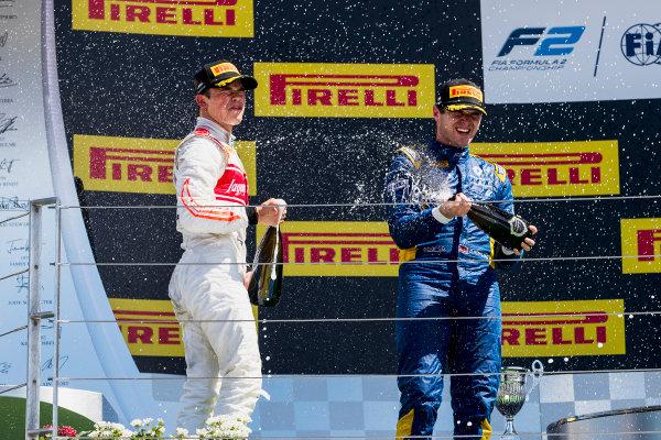 2017 FIA Formula 2 Round 7. Hungaroring, Budapest, Hungary. Sunday 30 July 2017. Oliver Rowland (GBR, DAMS), Nobuharu Matsushita (JPN, ART Grand Prix), Nyck De Vries (NED, Rapax).  Photo: Zak Mauger/FIA Formula 2. ref: Digital Image _54I4987