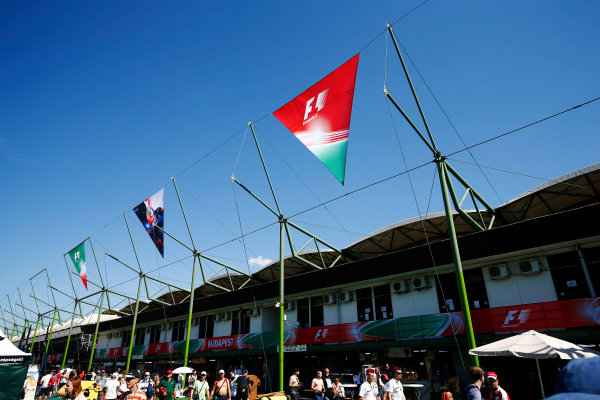 Hungaroring, Budapest, Hungary.  Saturday 29 July 2017. Flags are hung behind Hungaroring grandstands. World Copyright: Andy Hone/LAT Images  ref: Digital Image _ONZ9588
