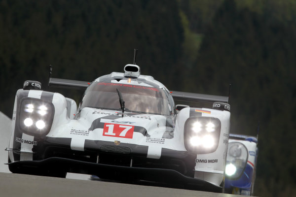 2015 FIA World Endurance Championship, Spa-Francorchamps, Belgium. 30th April - 2nd May 2015. Timo Bernhard / Mark Webber / Brendon Hartley Porsche Team Porsche 919 Hybrid. World Copyright: Ebrey / LAT Photographic.