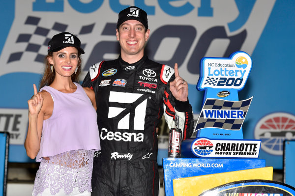 NASCAR Camping World Truck Series North Carolina Education Lottery 200 Charlotte Motor Speedway, Concord, NC USA Friday 19 May 2017 Kyle Busch, Cessna Toyota Tundra celebrates his win in Victory Lane World Copyright: Nigel Kinrade LAT Images ref: Digital Image 17CLT1nk04954