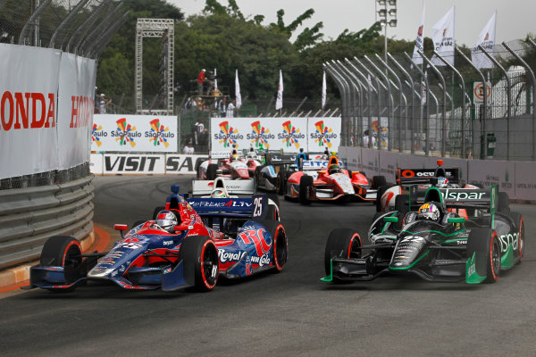 4-5 May, 2013, Sao Paulo, Brazil Marco Andretti passes Oriol Servia in turn four ©2013, Phillip Abbott LAT Photo USA