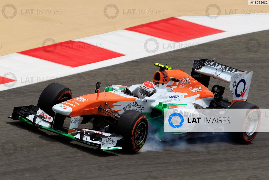 Bahrain International Circuit, Sakhir, Bahrain Friday 19th April 2013 Adrian Sutil, Force India VJM06 Mercedes.  World Copyright: Charles Coates/LAT Photographic ref: Digital Image _X5J2825