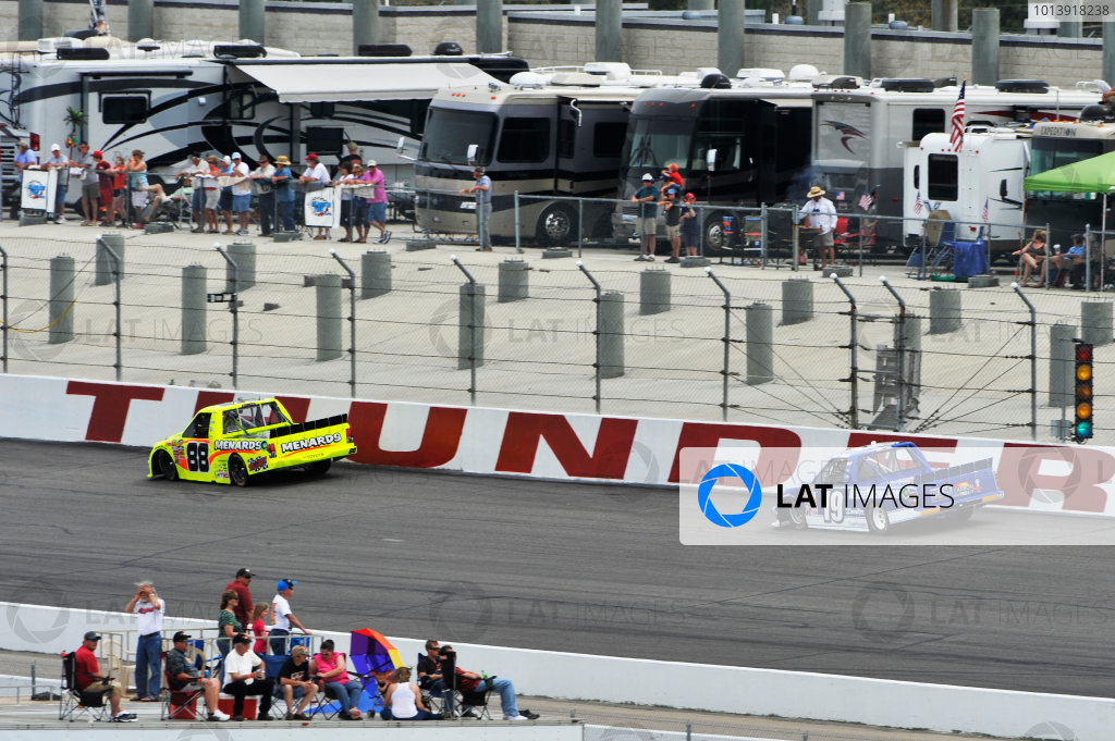 13-14 April, 2013, Rockingham, North Carolina USA Matt Crafton, Joey Logano ©2013, Scott R LePage LAT Photo USA
