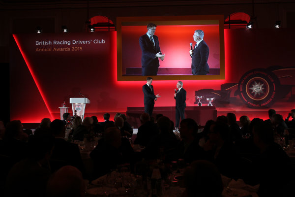 2015 British Racing Drivers Club Awards Grand Connaught Rooms, London Monday 7th December 2015 Derek Warwick on stage. World Copyright: Jakob Ebrey/LAT Photographic ref: Digital Image Warwick-03 (2)