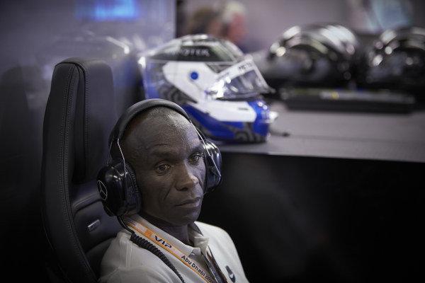 Kenyan athlete Eliud Kipchoge in the Mercedes garage