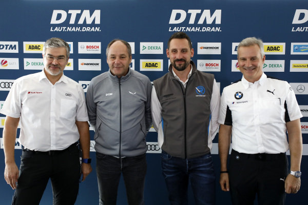 Dieter Gass, Head of DTM Audi Sport, Gerhard Berger, ITR Chairman, Dr. Florian Kamelger, Founder and owner AF Racing AG and Team principal R-Motorsport, Jens Marquardt, BMW Motorsport Director.