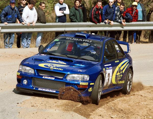 2000 Catalunya RallyRichard Burns cuts a corner in his Subaru Impreza WRC2000 at the Pre-event shakedown for the Catalunya Rally 2000.Photo: McKlein/LAT