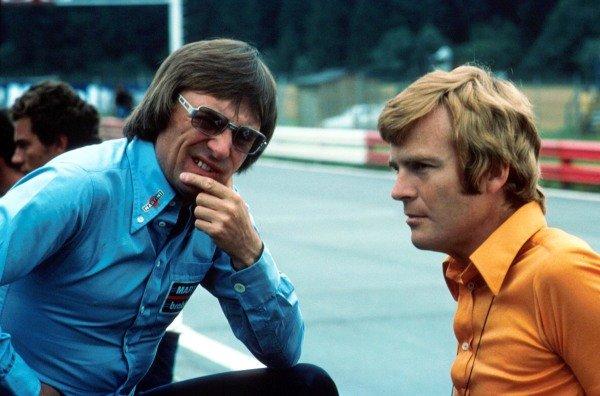 Max Mosley (GBR) Right, with Bernie Ecclestone (GBR) 1974.
