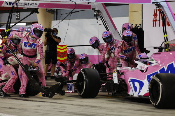 Sergio Perez, Racing Point RP20, makes a pit stop