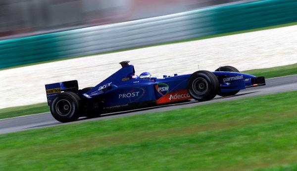 2001 Malaysian Grand Prix.Sepang, Kuala Lumpur, Malaysia. 16-18 March 2001.Jean Alesi (Prost AP04 Acer) 9th position.World Copyright - Steve Etherington/LAT Photographic.ref: 18mb Digital Image