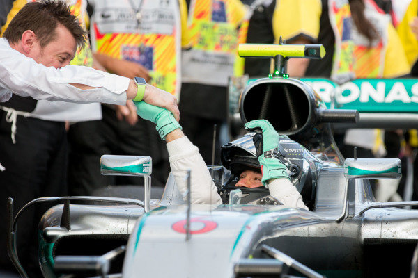 Race winner Nico Rosberg (GER) Mercedes AMG F1 celebrates in Parc ferme at Formula One World Championship, Rd1, Australian Grand Prix, Race, Albert Park, Melbourne, Australia, Sunday 20 March 2016.