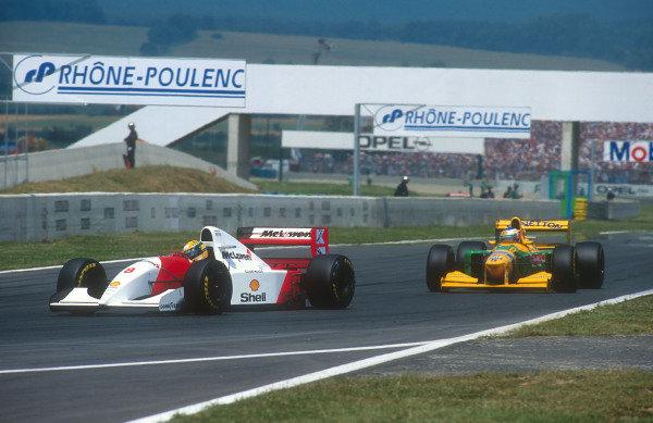 1992 French Grand Prix.Magny-Cours, France.3-5 June 1992.Ayrton Senna (McLaren MP4/7A Honda) followed by Michael Schumacher (Benetton B192 Ford). Ref-92 FRA 14.World Copyright - LAT Photographic