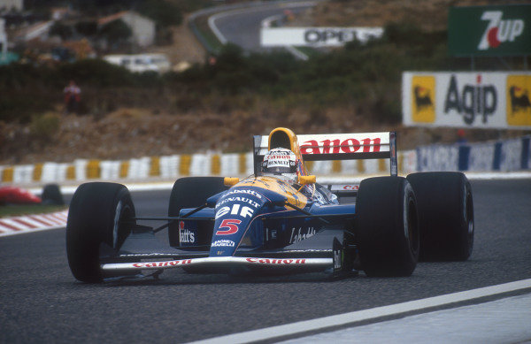 1992 Portuguese Grand Prix.Estoril, Portugal.25-27 September 1992.Nigel Mansell (Williams FW14B Renault) 1st position.Ref-92 POR 06.World Copyright - LAT Photographic