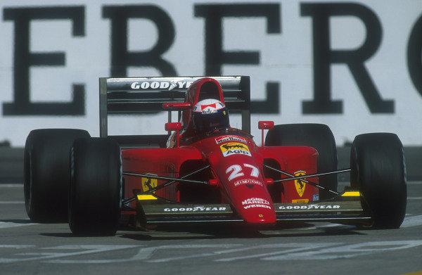 1991 United States Grand Prix.Phoenix, Arizona, U.S A.8-10 March 1991.Alain Prost (Ferrari 642) 2nd position.Ref-91 USA 05.World Copyright - LAT Photographic