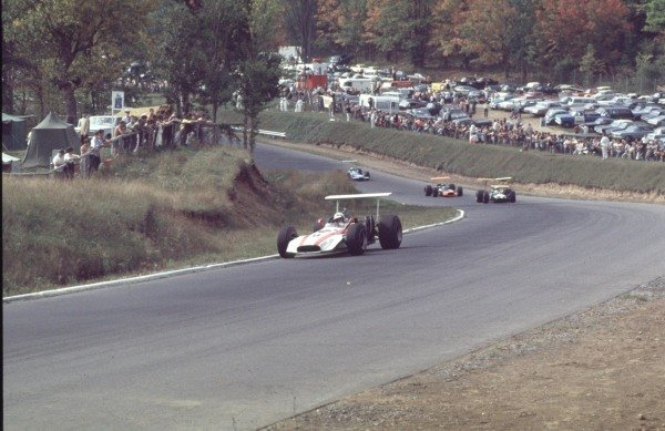 1968 Canadian Grand Prix.Mont-Tremblant, (St. Jovite), Quebec, Canada.20-22 September 1968.John Surtees (Honda RA301) leads Jack Brabham (Brabham BT26 Repco), Pedro Rodriguez (BRM P133) and Jackie Stewart (Matra MS10 Ford).Ref-68 CAN 45.World Copyright - LAT Photographic