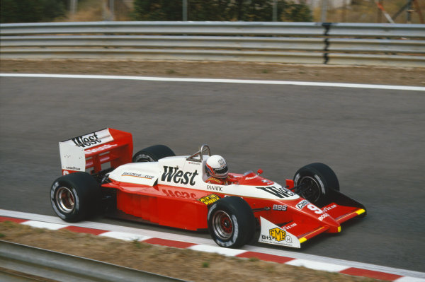 1987 Portuguese Grand Prix.  Estoril, Portugal. 18-20 September 1987.  Martin Brundle, Zakspeed 871.  Ref: 87POR28. World Copyright: LAT Photographic