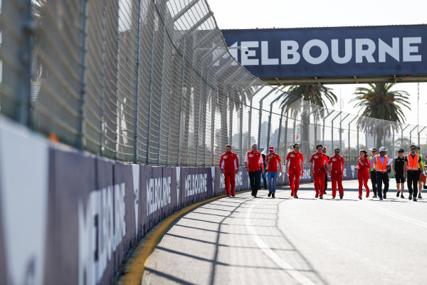 Track walk with Sebastian Vettel, Ferrari.