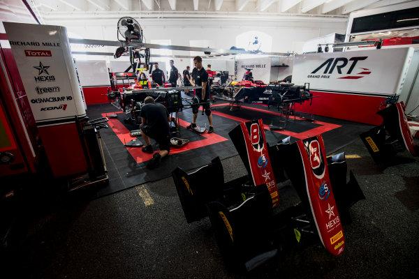 2017 FIA Formula 2 Round 3. Monte Carlo, Monaco. Wednesday 24 May 2017. Mechanics prepare the cars of Nobuharu Matsushita (JPN, ART Grand Prix) and Alexander Albon (THA, ART Grand Prix)  Photo: Zak Mauger/FIA Formula 2. ref: Digital Image _56I4627