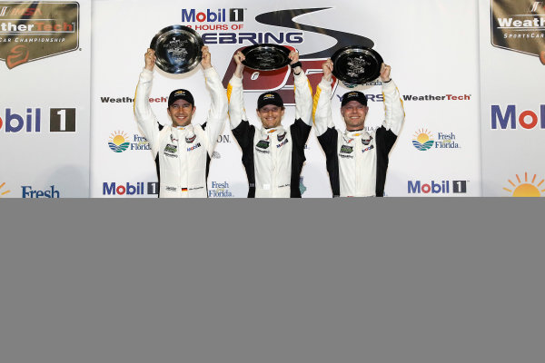 2017 IMSA WeatherTech SportsCar Championship Mobil 1 Twelve Hours of Sebring Sebring International Raceway, Sebring, FL USA Saturday 18 March 2017 3, Chevrolet, Corvette C7.R, GTLM, Antonio Garcia, Jan Magnussen, Mike Rockenfeller, podium World Copyright: Michael L. Levitt/LAT Images ref: Digital Image levitt_seb_0317-31759