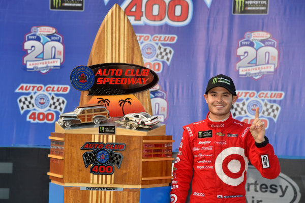 2017 Monster Energy NASCAR Cup Series Auto Club 400 Auto Club Speedway, Fontana, CA USA Sunday 26 March 2017 Kyle Larson celebrates his win in Victory Lane World Copyright: Nigel Kinrade/LAT Images ref: Digital Image 17FON1nk08537
