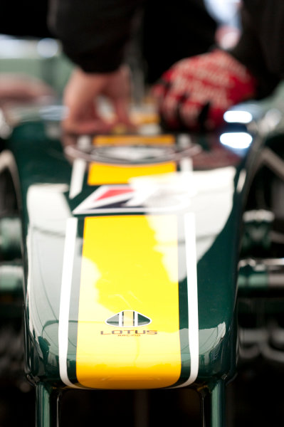 February 2010.The nose of the Lotus T127. Detail.Photo: Copyright Free - Lotus F1ref: Digital Image Lotus T127 Nosecone