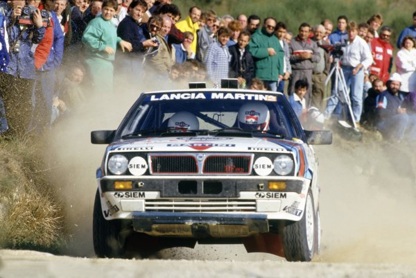 1987 World Rally Championship.Sanremo Rally, Italy. 12-15 October 1987.Fabrizio Tabaton/Luciano Tedeschini (Lancia Delta HF 4WD), 5th position.World Copyright: LAT PhotographicRef: 35mm transparency 87RALLY17