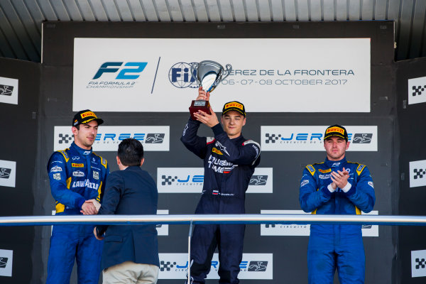 2017 FIA Formula 2 Round 10. Circuito de Jerez, Jerez, Spain. Sunday 8 October 2017. Nicholas Latifi (CAN, DAMS), Artem Markelov (RUS, RUSSIAN TIME), Oliver Rowland (GBR, DAMS).  Photo: Zak Mauger/FIA Formula 2. ref: Digital Image _X0W2912
