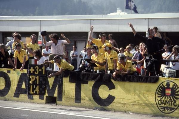 Lotus Team Celebrate the win of Elio De Angelis (ITA) Lotus 91 Austrian GP, Osterreichring, 15th August 1982