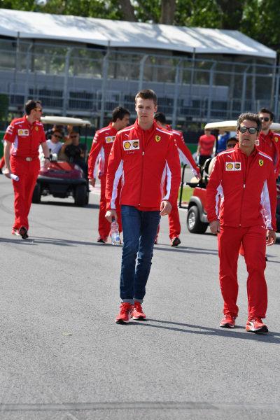 Daniil Kvyat (RUS) Ferrari walks the track