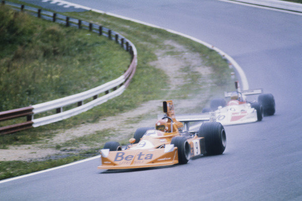 1975 Austrian Grand Prix  Osterreichring, Austria. 15-17 August 1975.  Vittorio Brambilla, March 751 Ford, 1st position, leads Hans-Joachim Stuck, March 751 Ford, retired.  CAUTION: SCAN HAS BASIC RETOUCHING ONLY. FULL RETOUCHED VERSION AVAILABLE ON REQUEST.  Ref: 75AUT03x. World copyright: LAT Photographic