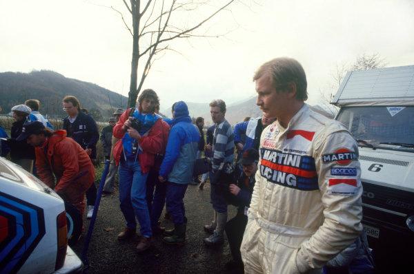 Lombard RAC Rally, Great Britain. 22nd - 25th November 1987.Juha Kankkunen (Lancia Delta HF 4WD), 1st position, portrait.World Copyright: LAT PhotographicRef: Colour Transparency.