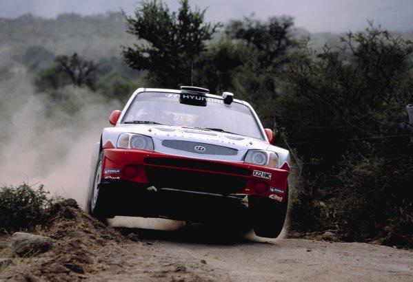 2003 World Rally ChampionshipRally Argentina, Cordoba, Argentina, 7th - 11th May 2003.Armin Schwarz/Manfred Hiemer (Hyundai Accent WRC3), action.World Copyright: LAT Photographicref: 03WRCArg23