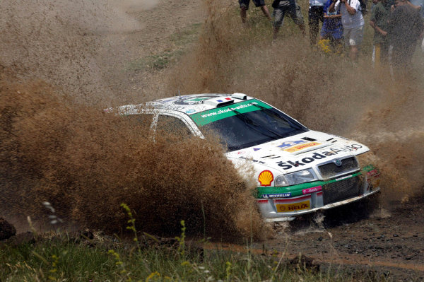 Didier Auriol in action in the Skoda Octavia WRC, Acropolis Rally 2003.