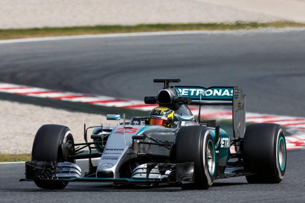 Circuit de Catalunya, Barcelona, Spain. Wednesday 13 May 2015. Pascal Wehrlein, Mercedes F1 W06 Hybrid.  World Copyright: Alastair Staley/LAT Photographic. ref: Digital Image _79P4993