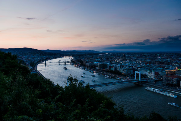 Hungaroring, Budapest, Hungary. Monday 5 June 2017. A view of the city at dusk. World Copyright: Zak Mauger/LAT Images ref: Digital Image _56I0558