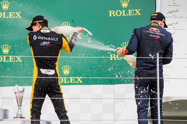 2017 GP3 Series Round 3.  Silverstone, Northamptonshire, UK. Sunday 16 July 2017. Jack Aitken (GBR, ART Grand Prix), Niko Kari (FIN, Arden International).  Photo: Zak Mauger/GP3 Series Media Service. ref: Digital Image _56I0267